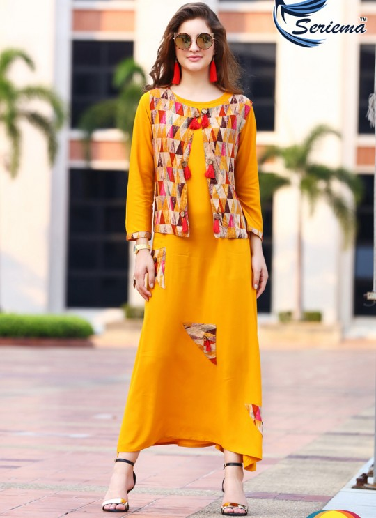 Yellow Rayon KUMB CLASSIC 1210 Party Wear Kurtis By Sparrow SC/010046