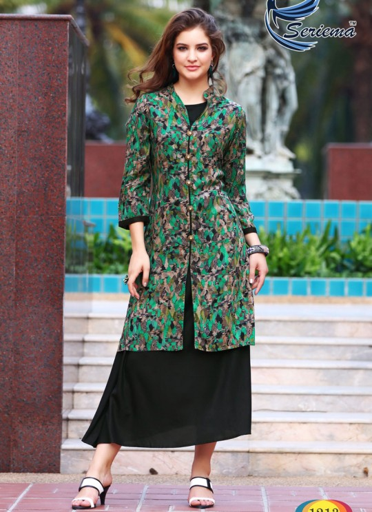 Black Rayon KUMB CLASSIC 1213 Party Wear Kurtis By Sparrow SC/010055