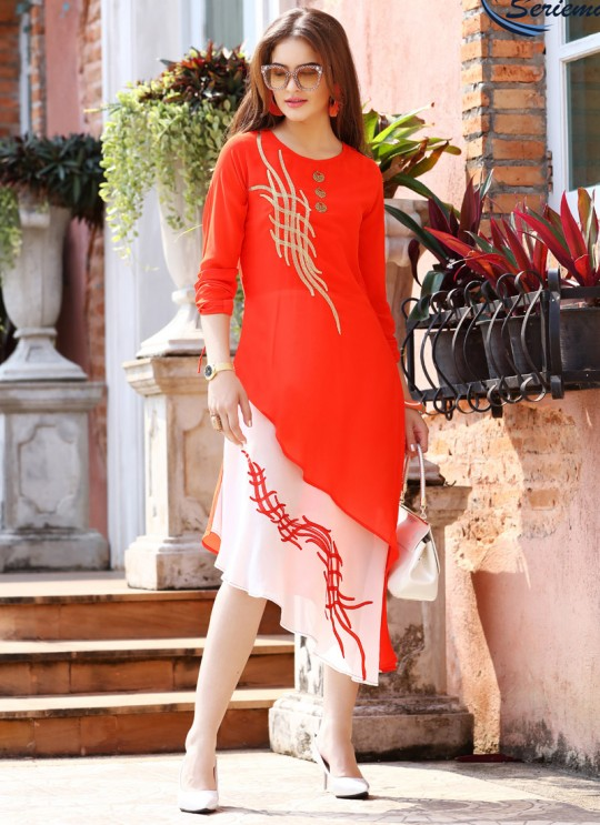 Red Georgette KUMB EXPRESS 1190 Party Wear Kurtis By Sparrow SC/009551