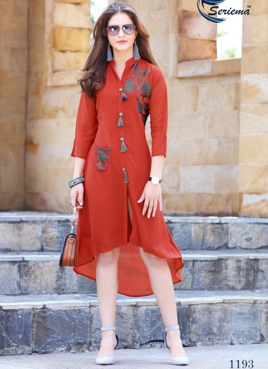 Red Georgette KUMB EXPRESS 1193 Party Wear Kurtis By Sparrow SC/009559
