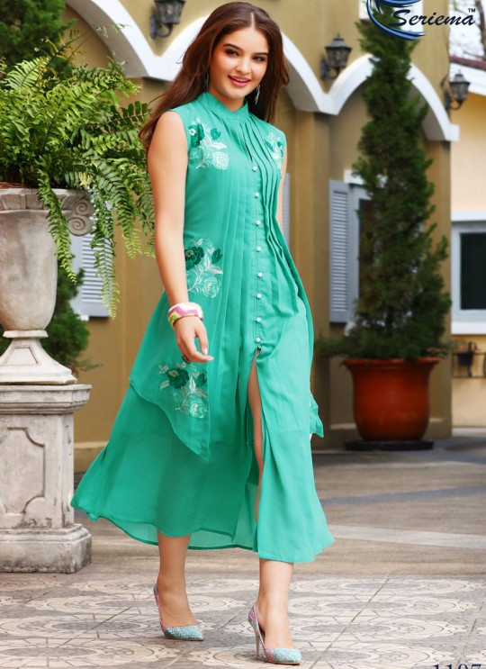 Green Georgette KUMB EXPRESS 1197 Party Wear Kurtis By Sparrow SC/009571