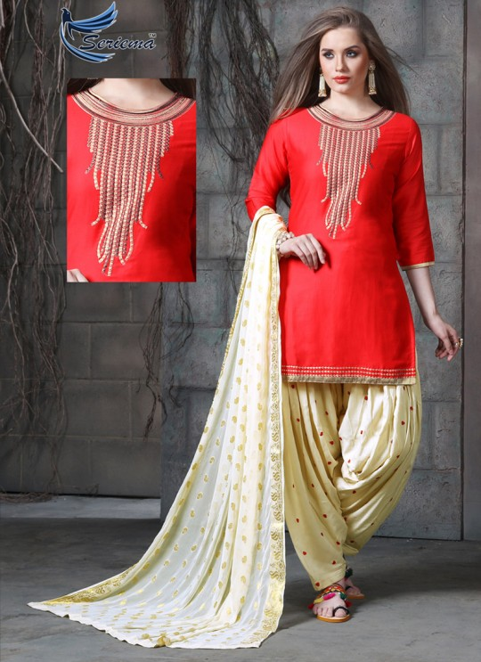 Red & Cream Jam Cotton Silk PATIYALA CLUB 1010 Punjabi Suits By Sparrow SC/011333