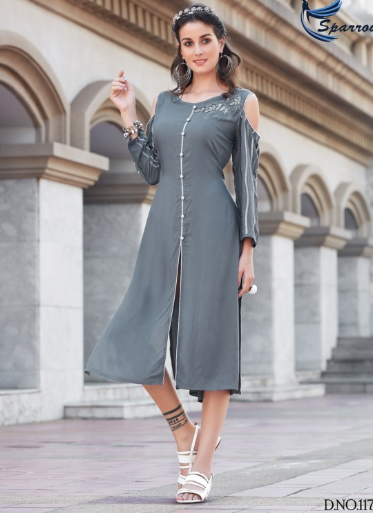 Grey Rayon KUMB SUMMER 1179 Party Wear Kurtis By Sparrow SC/009350