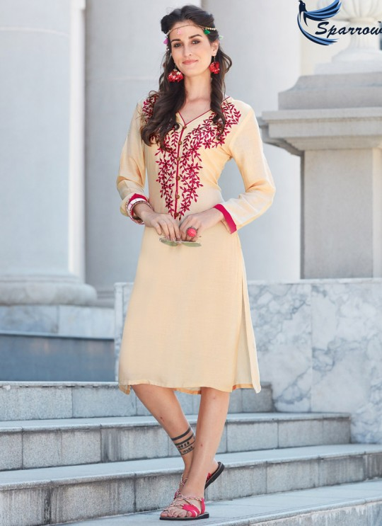 Beige Rayon KUMB SUMMER 1184 Party Wear Kurtis By Sparrow SC/009363