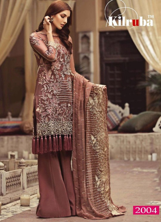 Brown Georgette Embroidered Party Wear Pakistani Salwar Kameez Jannat 2004 By Kilruba