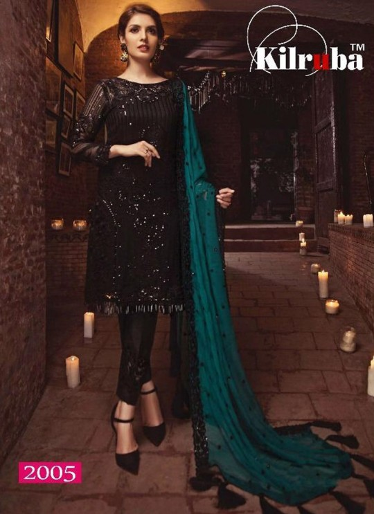 Black Georgette Embroidered Party Wear Pakistani Salwar Kameez Jannat 2005 By Kilruba