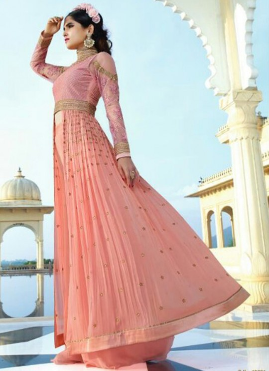 Pink Georgette Embroidered Pakistani Style AAFREEN 10701 By Leo Fashions SC/002505