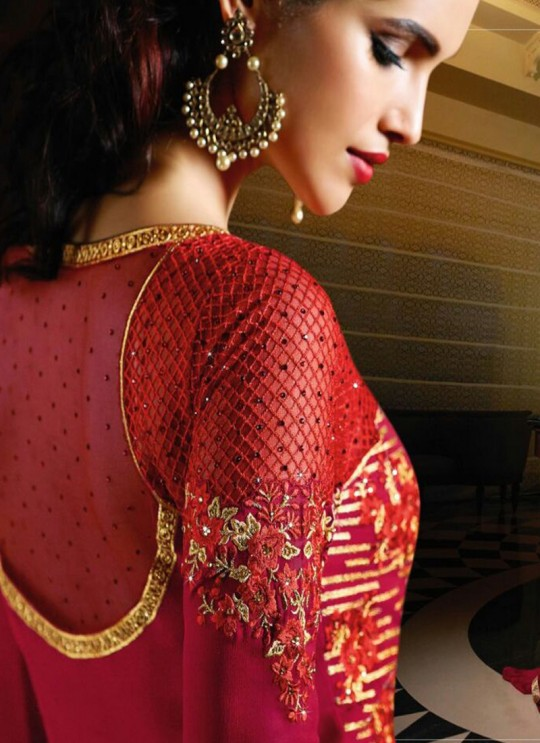 Red Georgette Embroidered Pakistani Style AAFREEN 10708 By Leo Fashions SC/002512