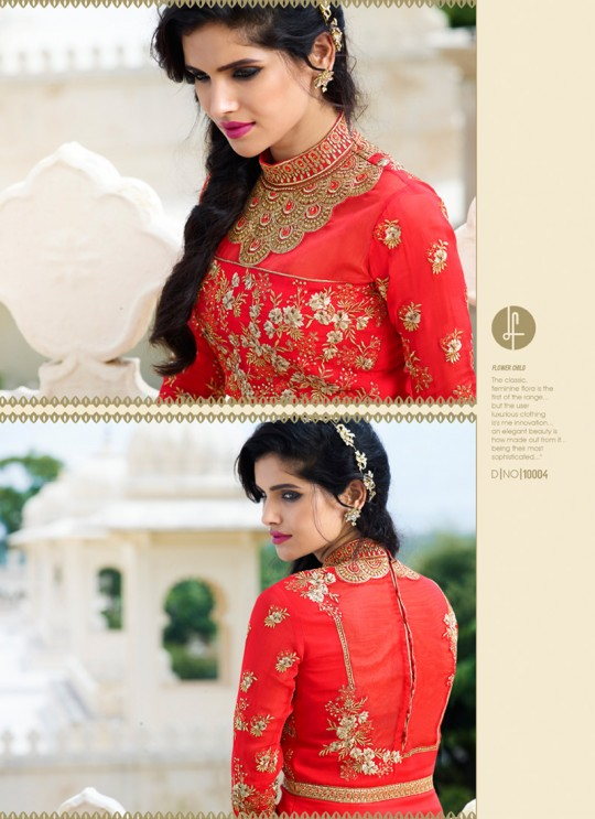 Red Georgette Embroidered Pakistani Style AAFREEN 10004 By Leo Fashions SC/001716