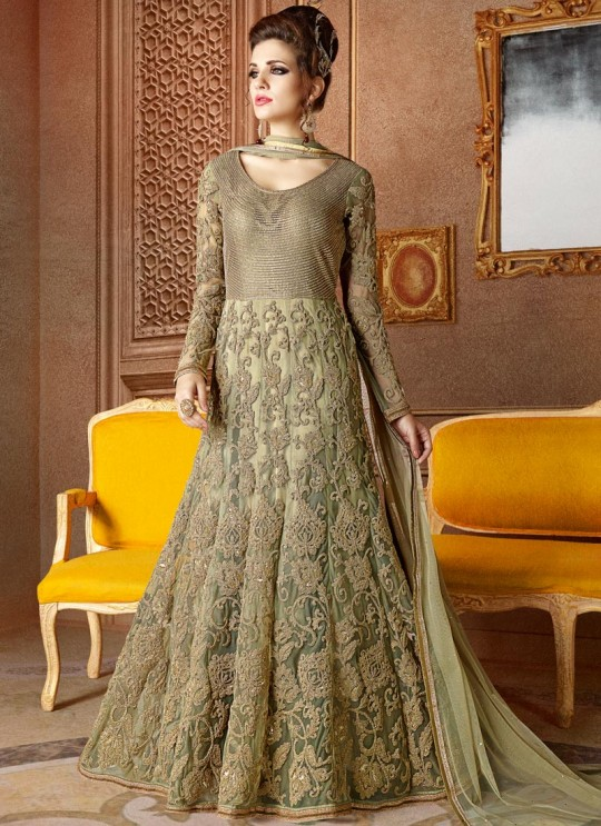 Green Net Floor Length Anarkali Sampann Vol 1 5104 By Nirvana SC/005354