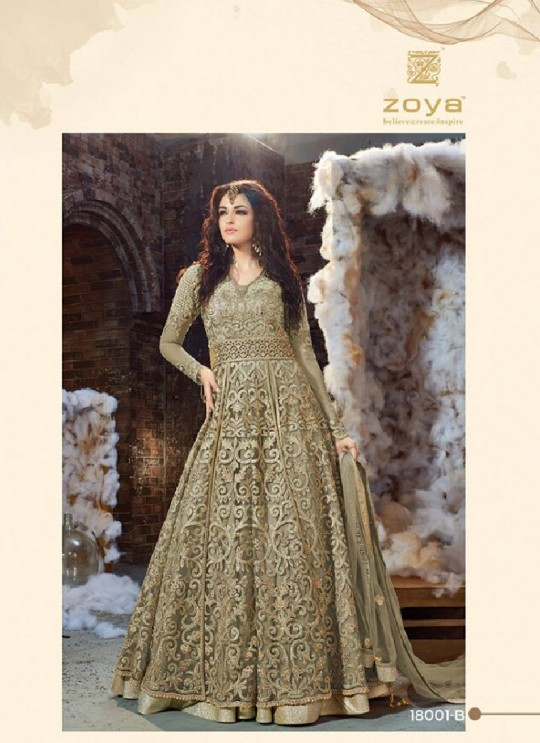 Mehandi Green Fabric Floor Length Anarkali 1800B COLOR MAGIC VOL 1 BY ZOYA 18001A-D SERIES By Zoya