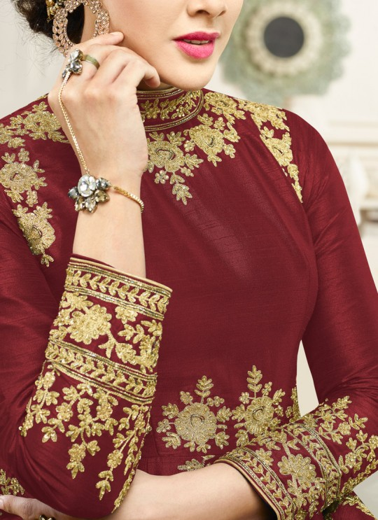 Aashirwad Simran Gold Maroon Silk Anarkali Suit By Aashirwad Simran Gold-1001A Brown