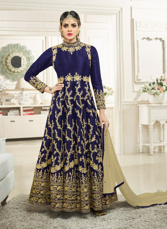 Aashirwad Simran Gold Blue Silk Anarkali Suit By Aashirwad Simran Gold-1001B Blue
