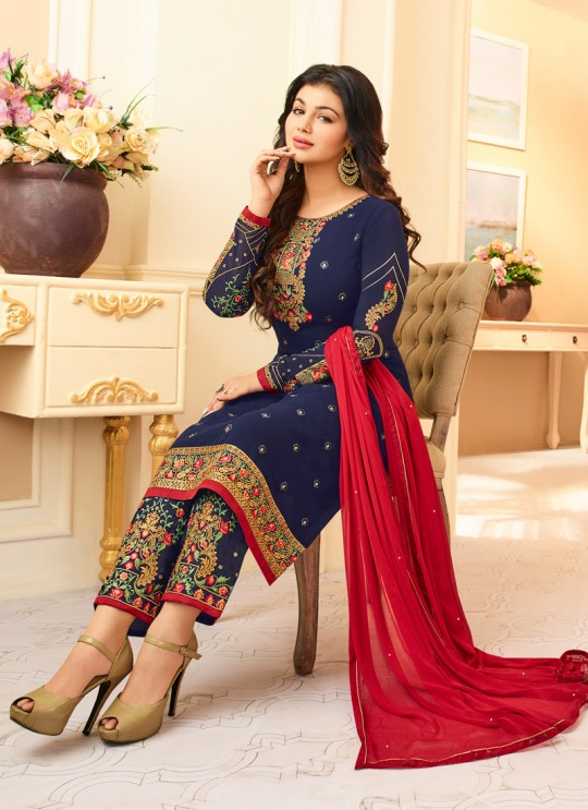 Aashirwad Queen Bottom Work Blue Pure Georgette Straight Suit By Aashirwad Queen Bottom Work-1005