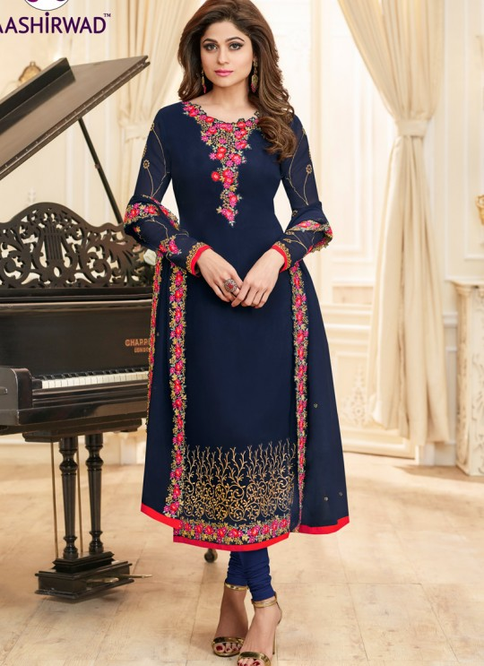 Aashirwad Samita Duptta Work Blue Pure Georgette Straight Suit By Aashirwad Samita Duptta Work-2002