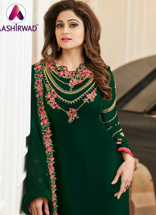 Aashirwad Samita Duptta Work Green Pure Georgette Straight Suit By Aashirwad Samita Duptta Work-2003
