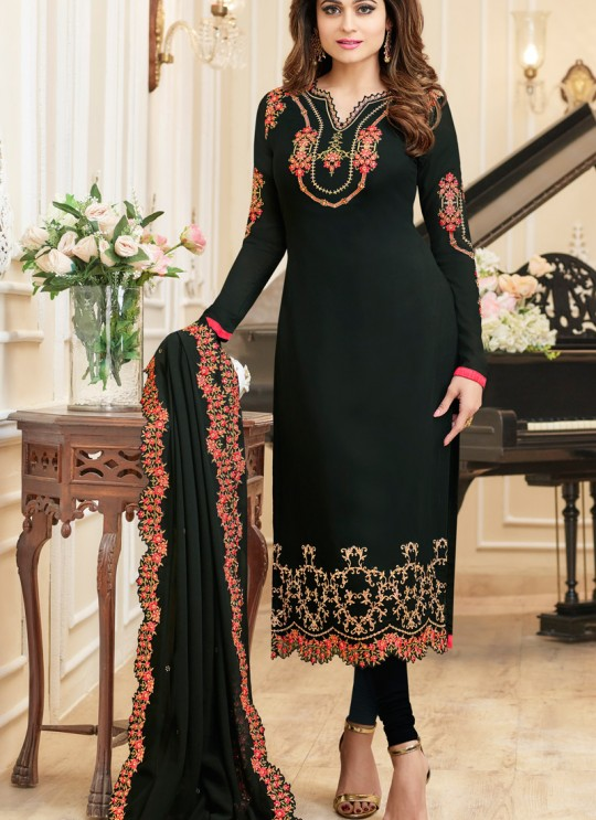 Aashirwad Samita Duptta Work Black Pure Georgette Straight Suit By Aashirwad Samita Duptta Work-2004