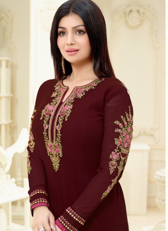 Aashirwad Saffron Vol 2 Maroon Faux Georgette Straight Suit By Aashirwad Saffron Vol 2-2235