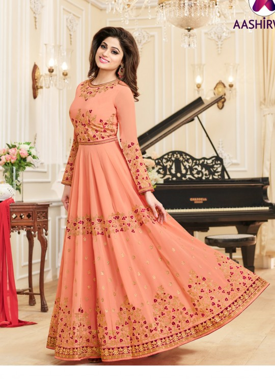 Aashirwad Celebrity Peach Faux Georgette Anarkali Suit By Aashirwad Celebrity-10004