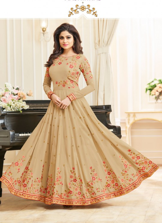 Aashirwad Celebrity Beige Faux Georgette Anarkali Suit By Aashirwad Celebrity-10006