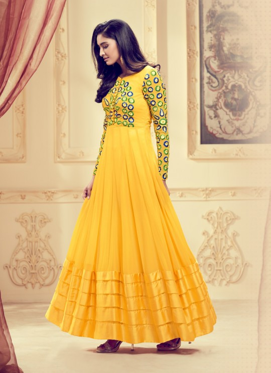 Aashirwad Dyna Vol - 1 Yellow Georgette Anarkali Suit By Aashirwad Dyna-1002