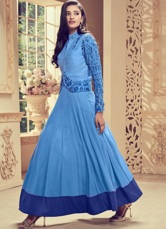 Aashirwad Dyna Vol - 1 Blue Georgette Anarkali Suit By Aashirwad Dyna-1003