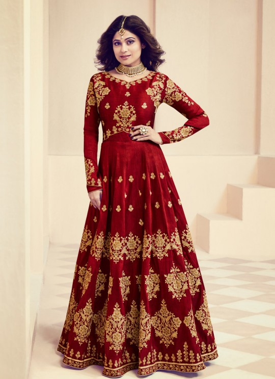 Aashirwad Monisha Maroon Royal Silk Anarkali Suit By Aashirwad Monisaa-8012
