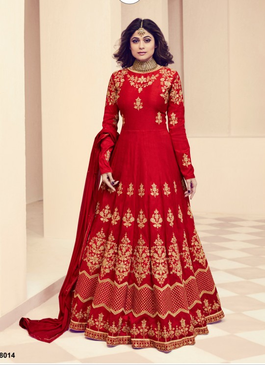Aashirwad Monisha Red Royal Silk Anarkali Suit By Aashirwad Monisaa-8014