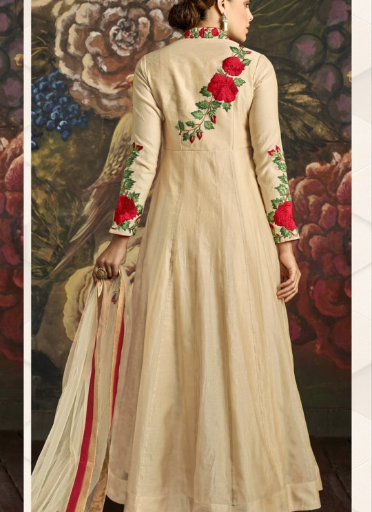 Aashirwad Nikki Special Color Cream Art Silk Gown Style Anarkali Suit By Aashirwad Nikki-1001a