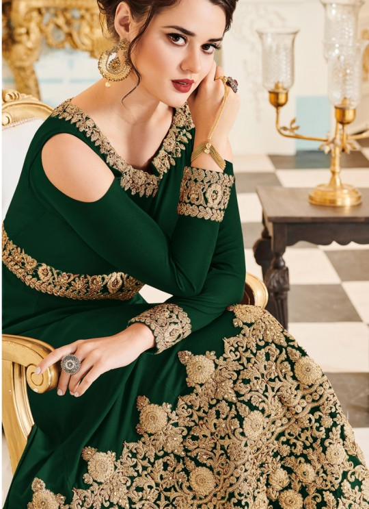Aashirwad Veeda Green Faux Georgette Anarkali Suit By Aashirwad Veeda-01D (Green)