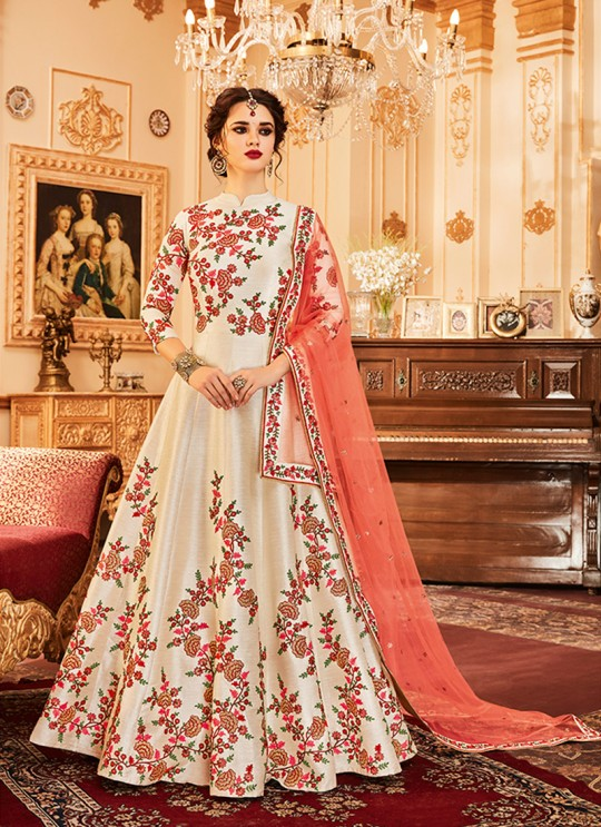 Aashirwad Wedding Affair Cream Melbourne Silk Anarkali Suit By Aashirwad Wedding Affair-001