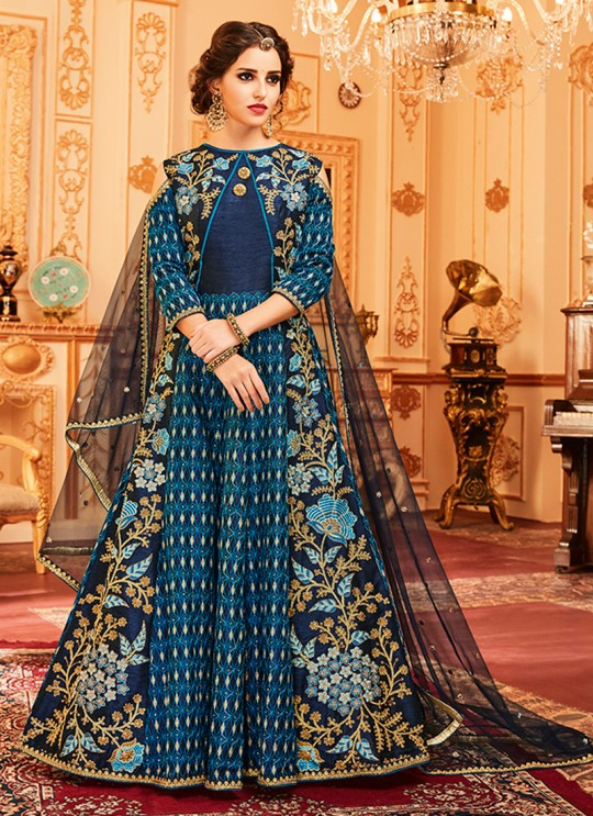 Aashirwad Wedding Affair Blue Melbourne Silk Anarkali Suit By Aashirwad Wedding Affair-003