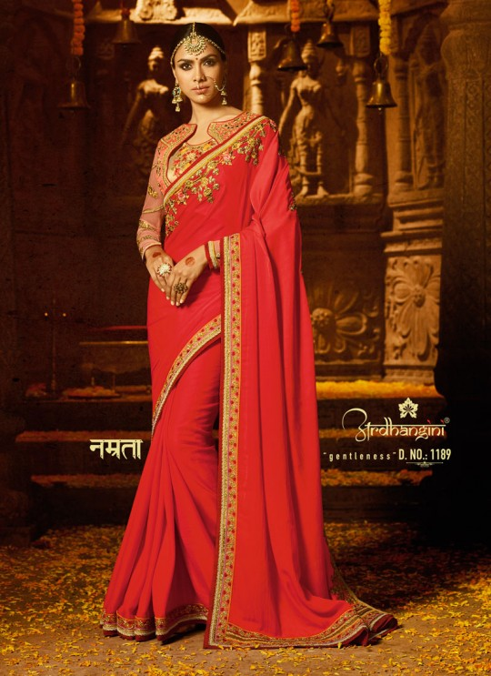 Red Crape Wedding Saree Sakshi Vol 4 1189 By Ardhangini