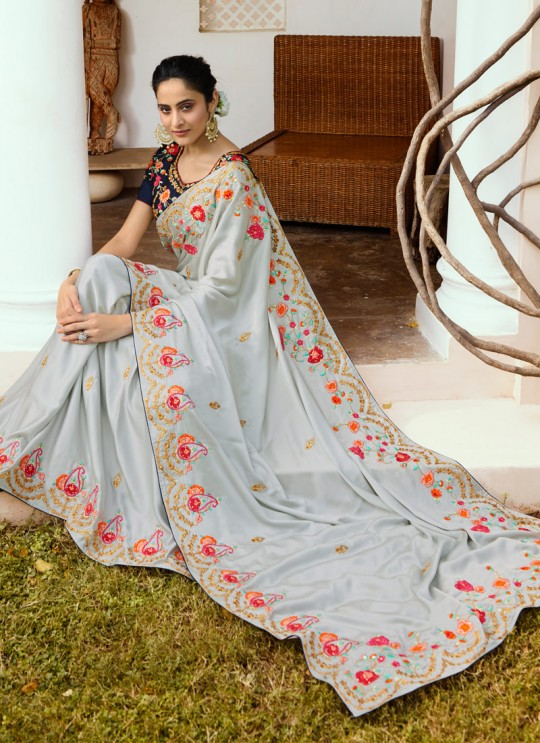 Grey Silk Wedding Saree Srushti Vol 1 4113 By Ardhangini