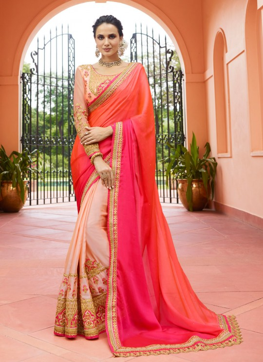 Pink N Gold Silk Half N Half Saree Srushti Vol 1 4115 By Ardhangini