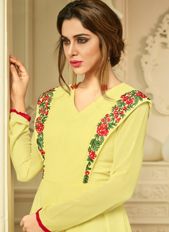 Yellow Georgette Party Wear Kurti Floret VOL 2 2010 By Arihant NX Size XL