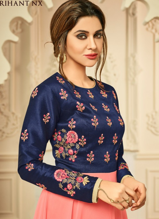 Peach Mulberry Silk Party Wear Kurti Floret VOL 2 2011 By Arihant NX Size XL