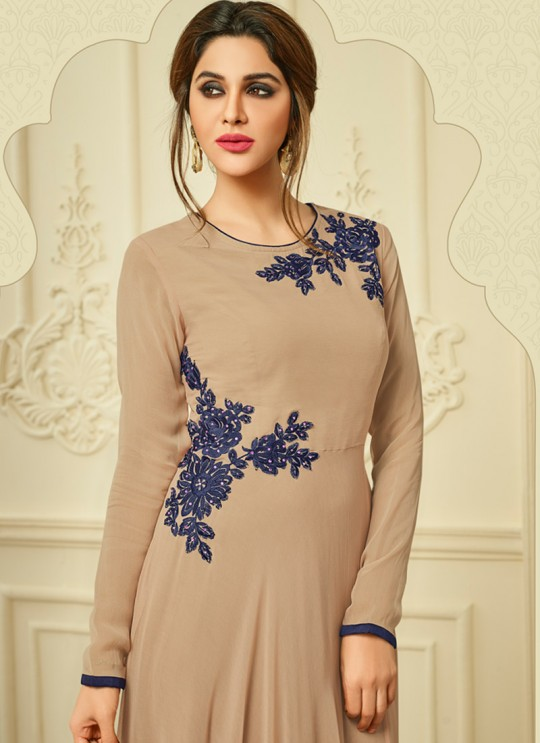 Beige Faux Georgette Party Wear Kurti Floret VOL 2 2013 By Arihant NX Size XL
