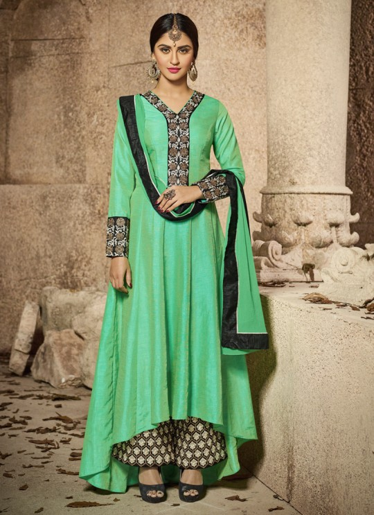 Sea Green Banglori Silk Embroidered Up & Down Suit  Matrix 25002 By Arihant