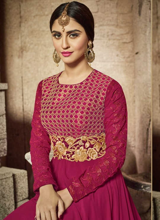 Magenta Faux Georgette Embroidered Up & Down Suit  Matrix 25004 By Arihant
