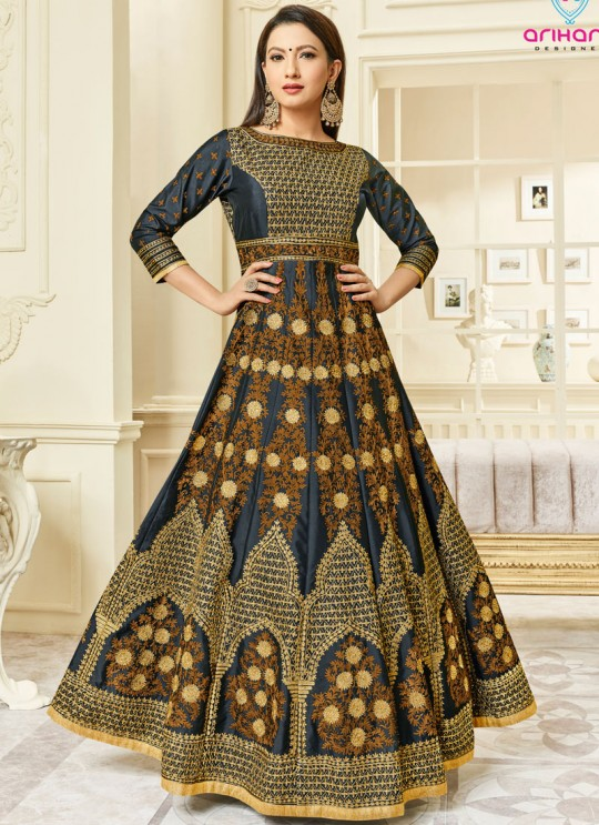 Black Mulberry Silk Embroidered Floor Length Anarkali Suit Hayat 26002 By Arihant