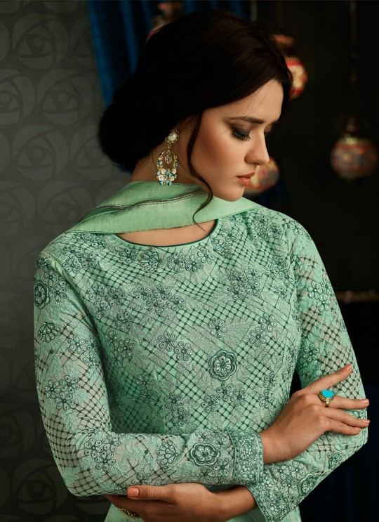 Green Georgette Embroidered Up & Down Suit  Rihanna 27002 By Arihant