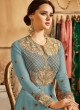 Ice Blue Georgette Embroidered Floor Length Anarkali Suit  Aadhvinna 28001A Colour By Arihant