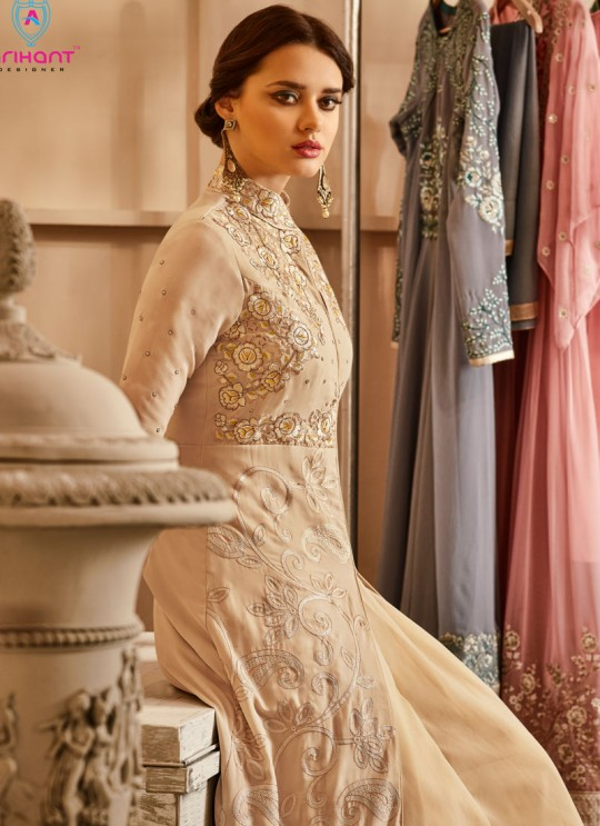 Beige Georgette Embroidered Floor Length Anarkali Suit  Aadhvinna 28003 By Arihant