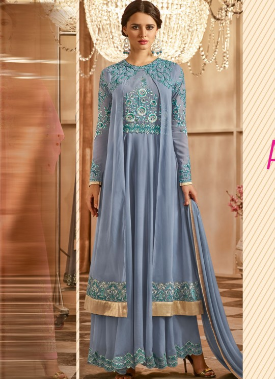 Grey Georgette Embroidered Floor Length Anarkali Suit  Aadhvinna 28005 By Arihant