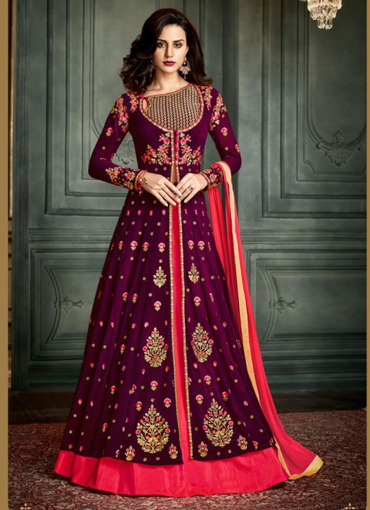 Magenta Georgette Embroidered Floor Length Anarkali Suit  Vidhisha 31002 By Arihant