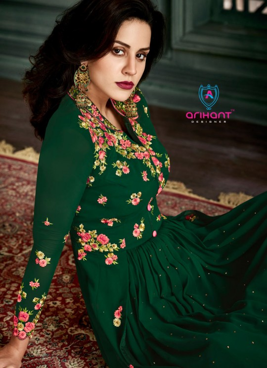 Green Georgette Embroidered Floor Length Anarkali Suit  Vidhisha 31003 By Arihant