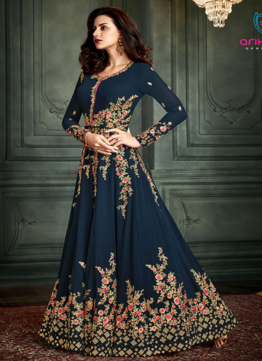 Blue Georgette Embroidered Floor Length Anarkali Suit  Vidhisha 31004 By Arihant