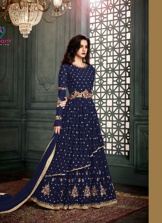Blue Georgette Embroidered Floor Length Anarkali Suit  Vidhisha 31006A Color By Arihant