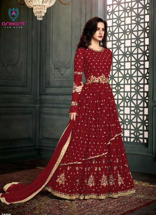 Maroon Georgette Embroidered Floor Length Anarkali Suit  Vidhisha 31006D Color By Arihant
